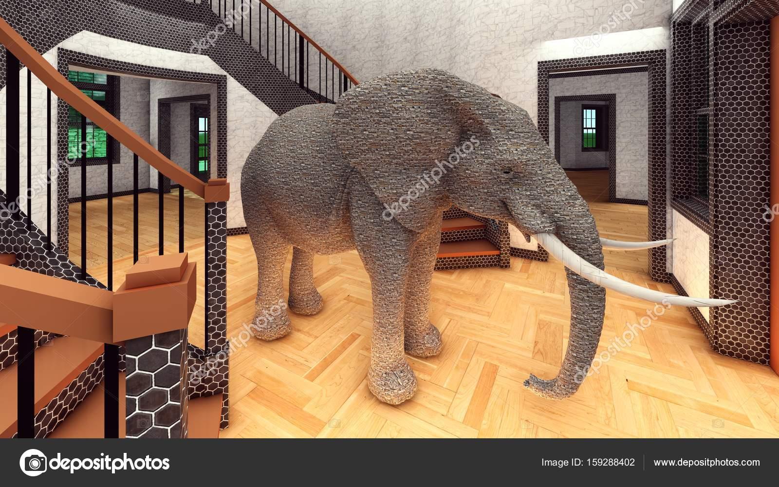 Elefante na sala processamento 3d — Fotografia de Stock