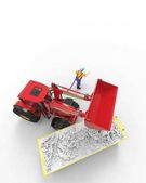 Průmyslové pozadí s skip a buldozer 3d vykreslování