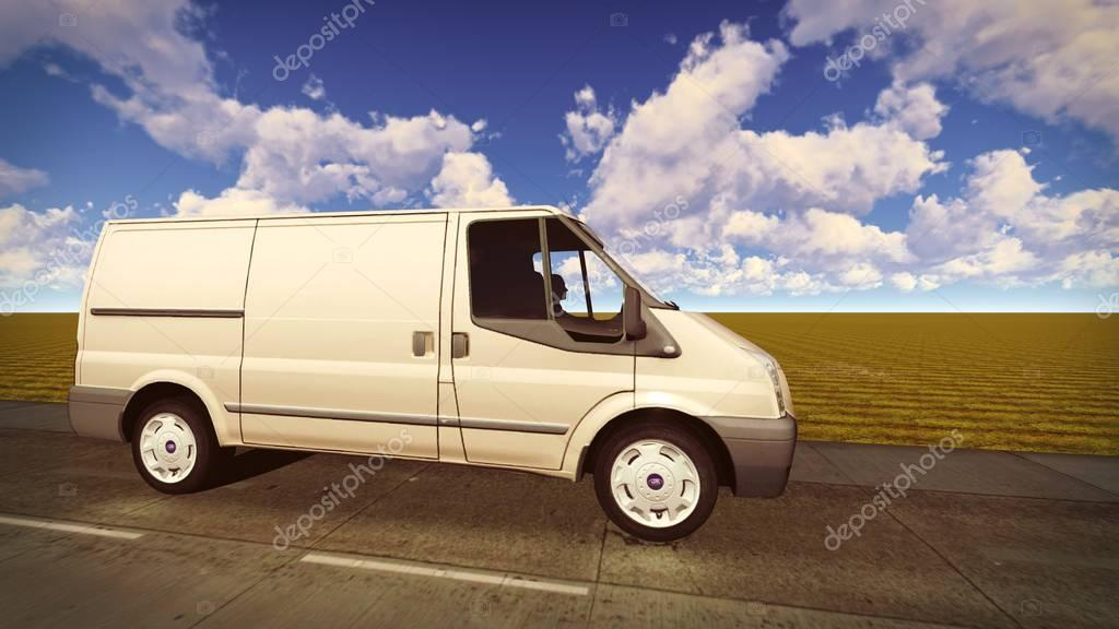 White van traveling on the roads 3d rendering