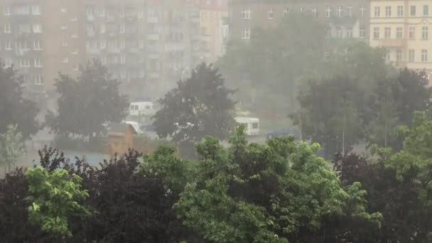 Scary urban storm. Very strong summer storm with close to hurricane force winds. Wroclaw in Poland
