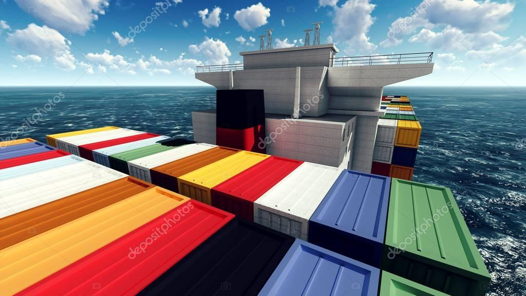 Huge container on way to port 3d rendering