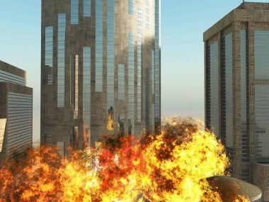 bomb blast in the city 3D rendering