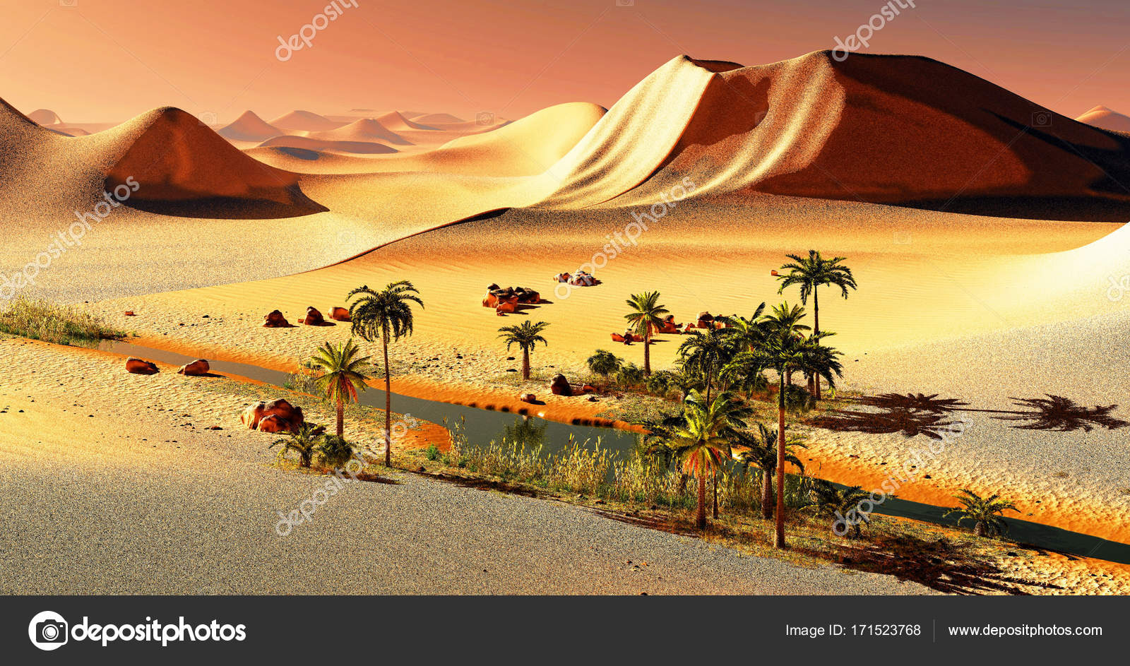 Beautiful Natural Background African Oasis 3d Rendering Stock