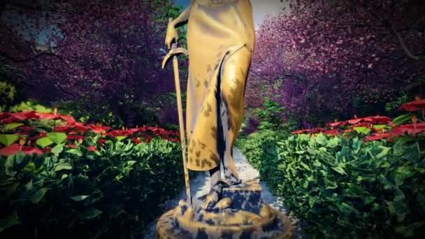Themis with scale and sword in garden