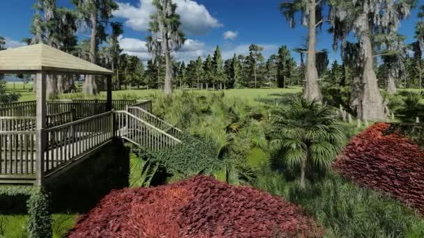 Fishing pier in the swamp 3d rendering
