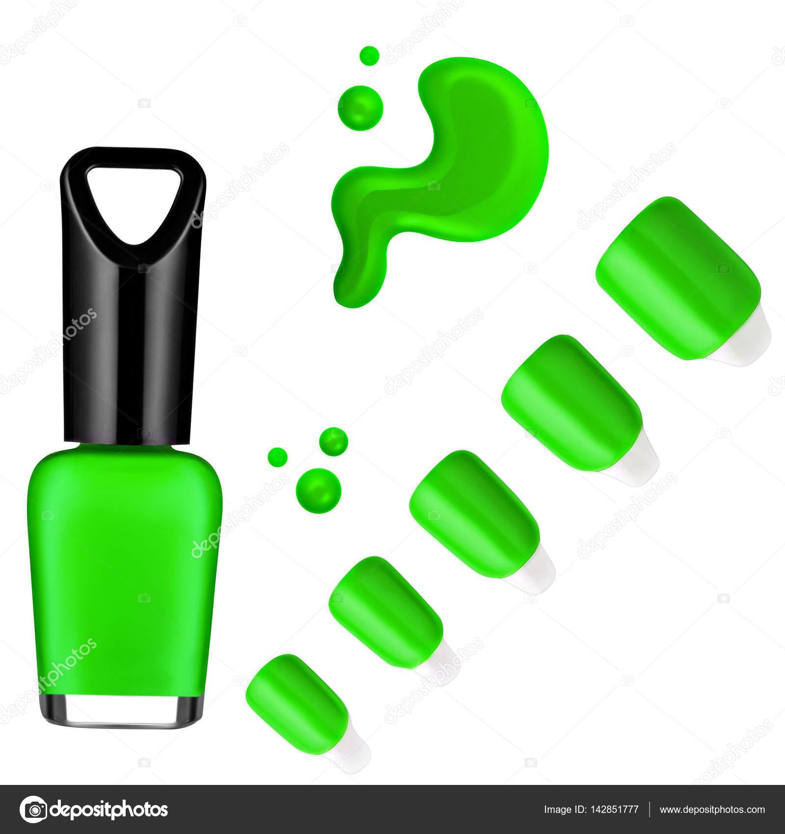 esmalte de uñas de color verde, cepillo, muestra — Foto de stock ...