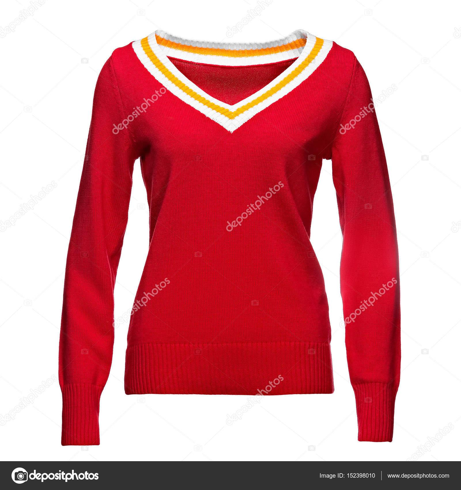 6a6c7ccb65c975 mockup di felpa donna rosso, isolato su priorità bassa bianca — Foto ...