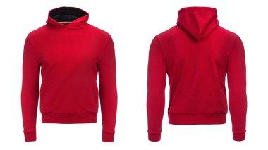 red hoodie, sweatshirt mockup, isolated on white background