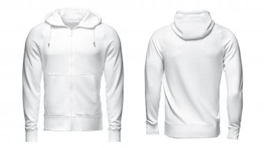 white hoodie, sweatshirt mockup, isolated on white background