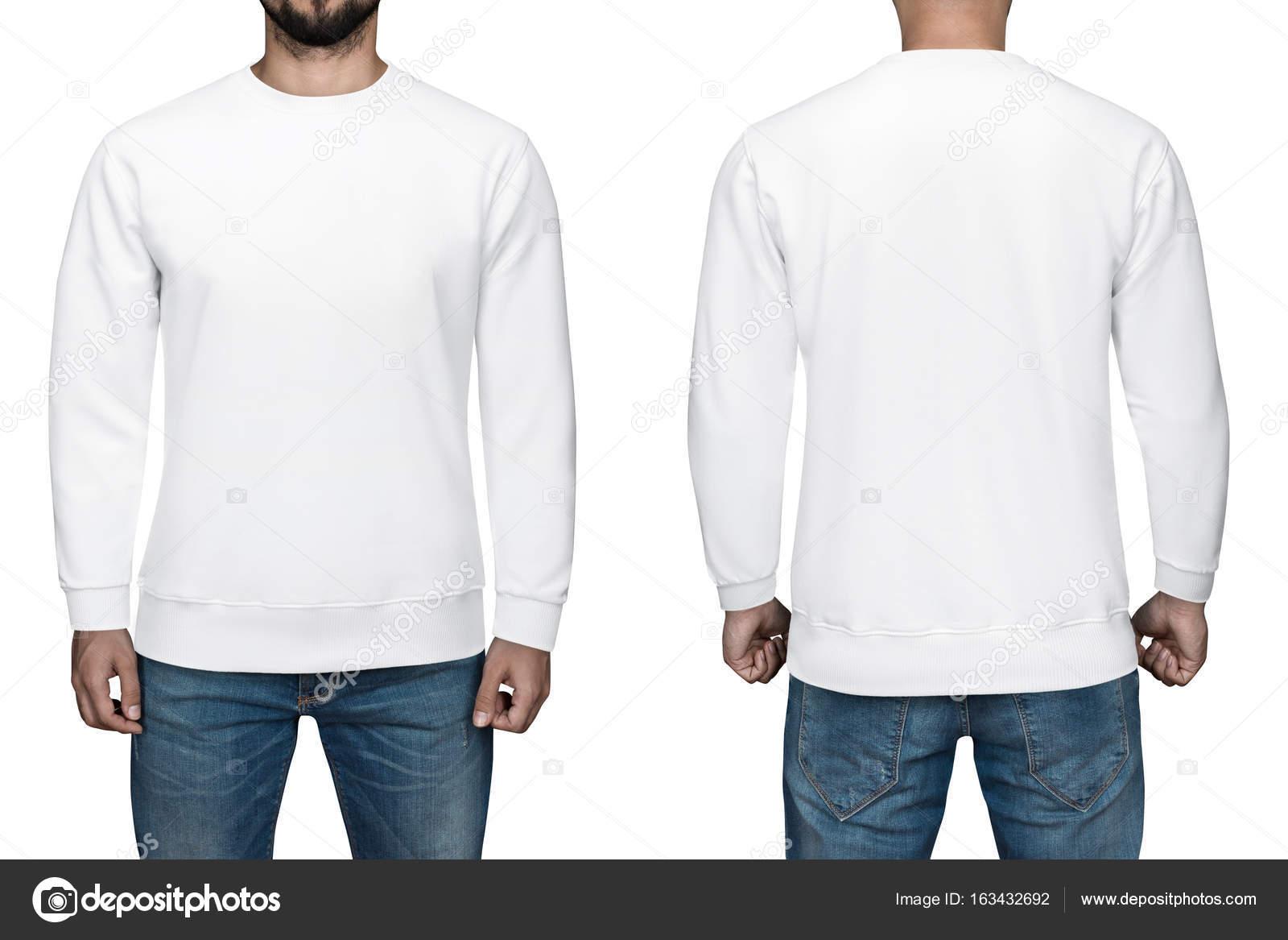 空白のプルオーバー 前面 背面 男性は 白い背景を分離しました