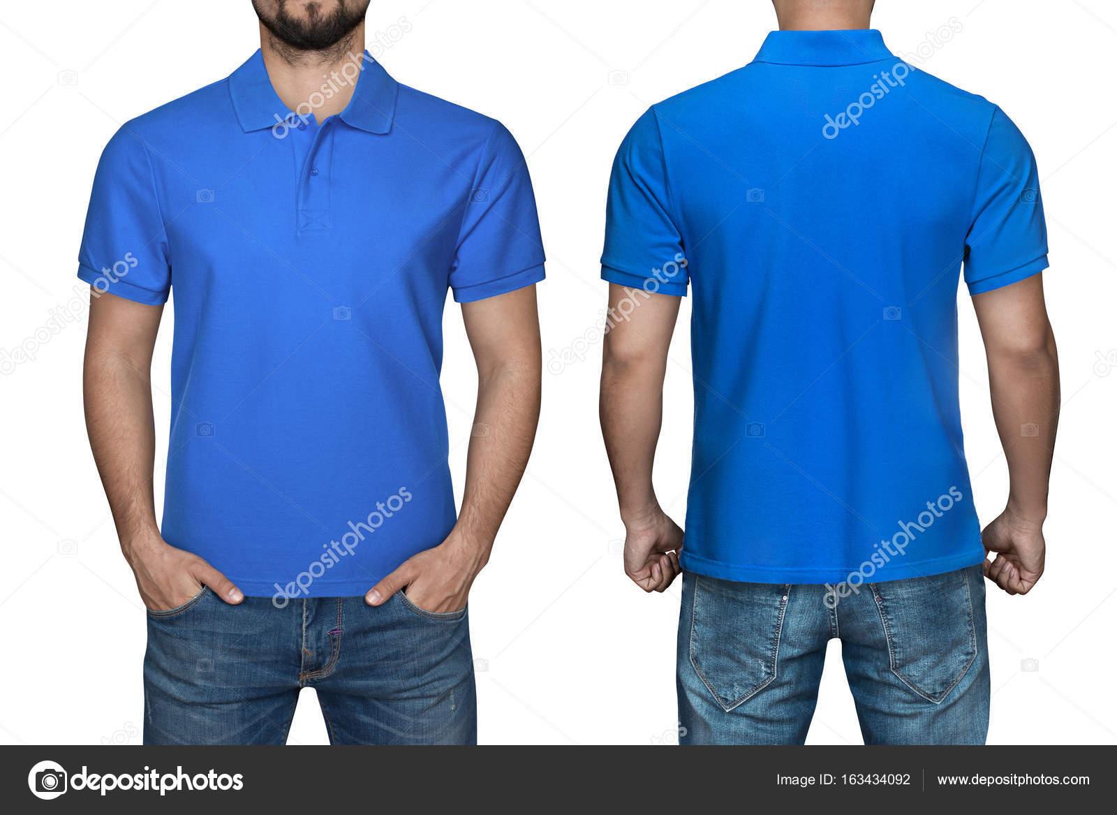 Männer in leeren blauen Polo-Shirt, Vorder- und Rückansicht ...