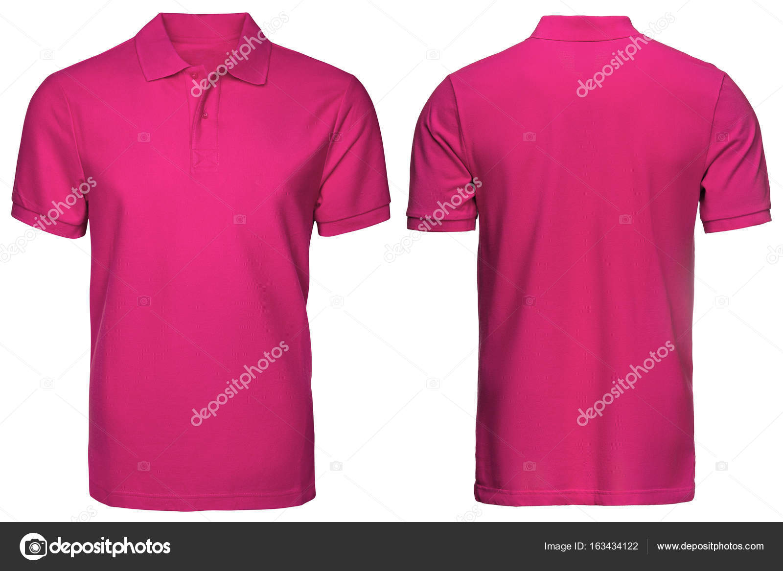 ec58d46ea78f2a Blank pink polo shirt, front and back view, isolated white background.  Design polo shirt, template and mockup for print.– stock image