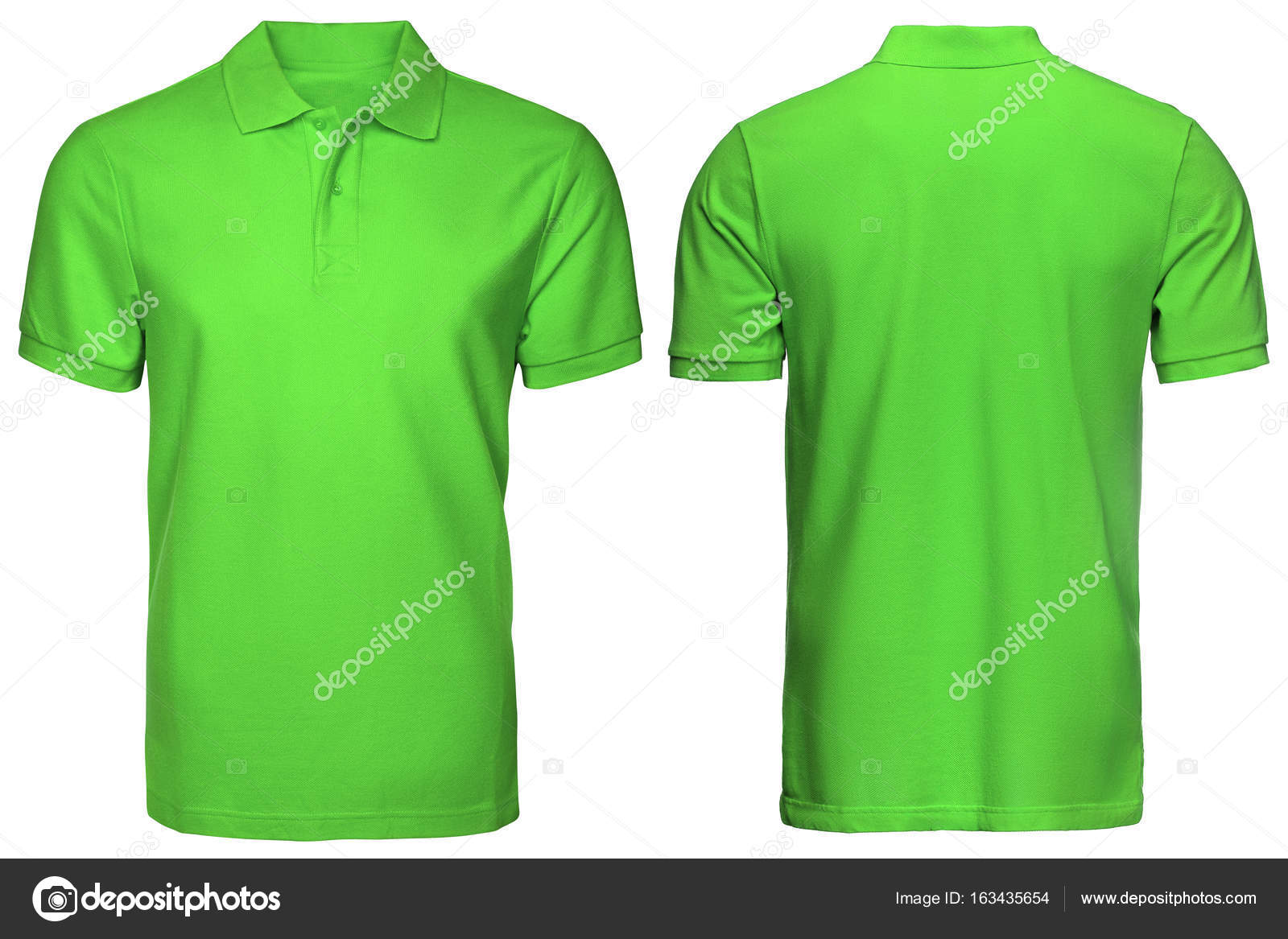 Blank Green Polo Shirt Front And Back View Isolated White