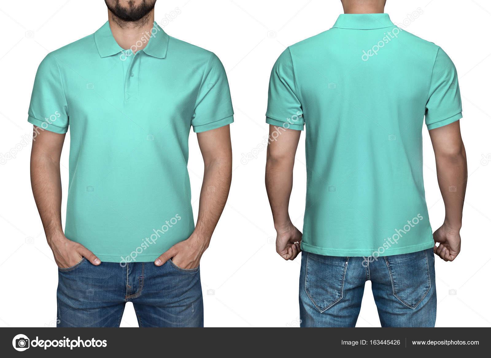 Männer in leere türkisfarbenen Polo-Shirt, Vorder- und Rückansicht ...