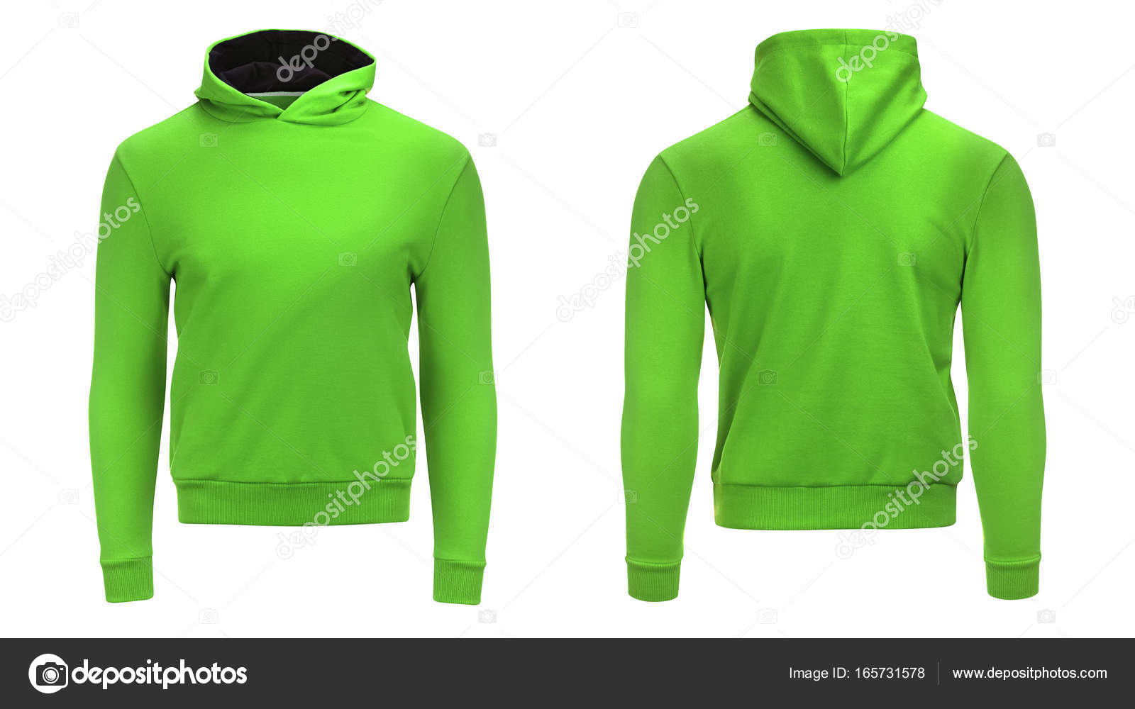 Blank green male hoodie sweatshirt with clipping path, mens pullover ...