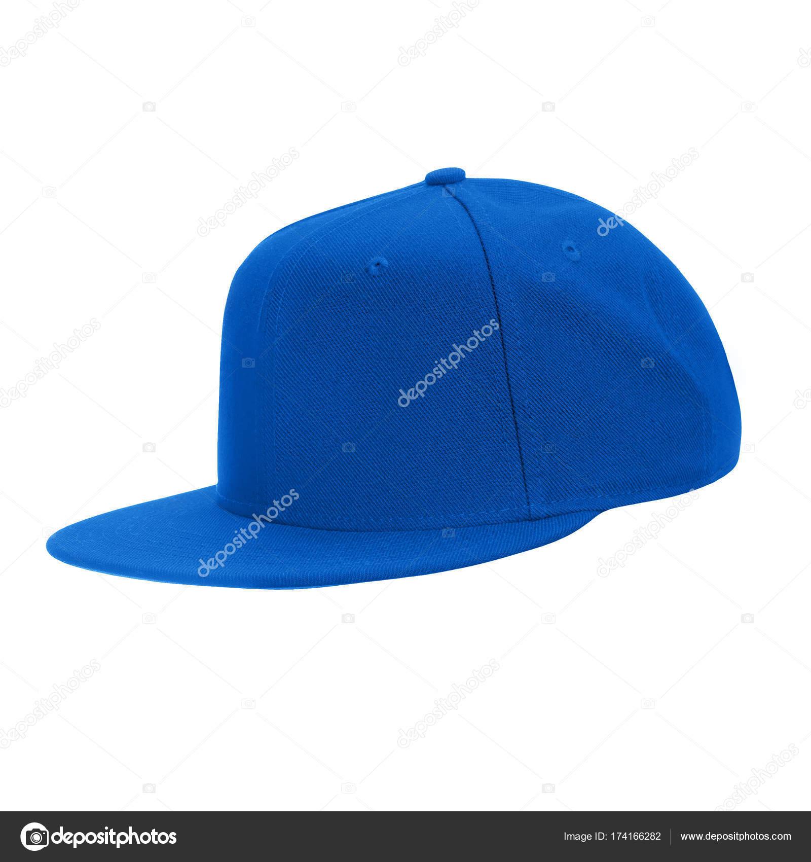Modello per il berretto da baseball blu in bianco disegno isolato su  priorità bassa bianca con il percorso di residuo della potatura meccanica —  Foto di ... 74d6c640e33d