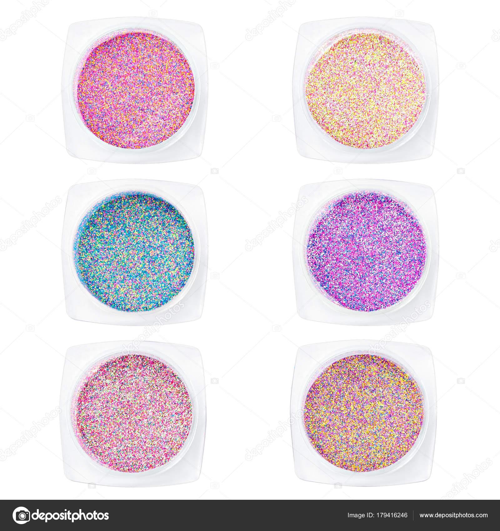 Multi-farbige Pailletten für das Design der Nägel in Kästchen ...