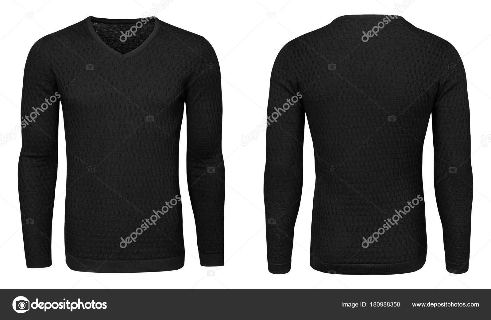 Leere Vorlage Mens schwarzes Sweatshirt Langarm, Vorder-und ...