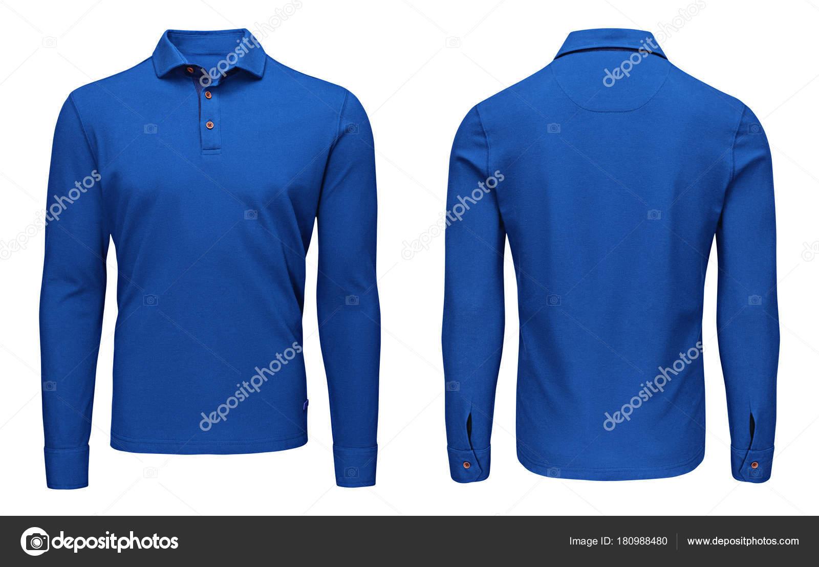 8b601fe1ea Modelo em branco mens azul camisa polo manga longa