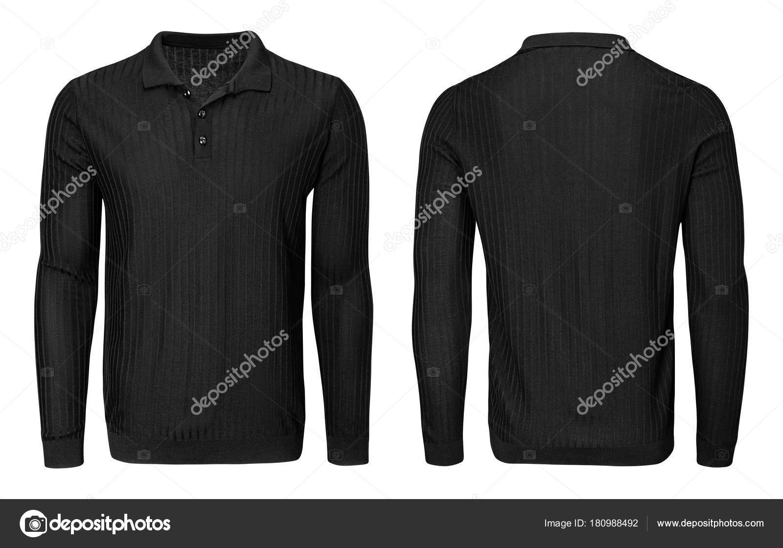 Blank template mens black polo shirt long sleeve, front and back ...