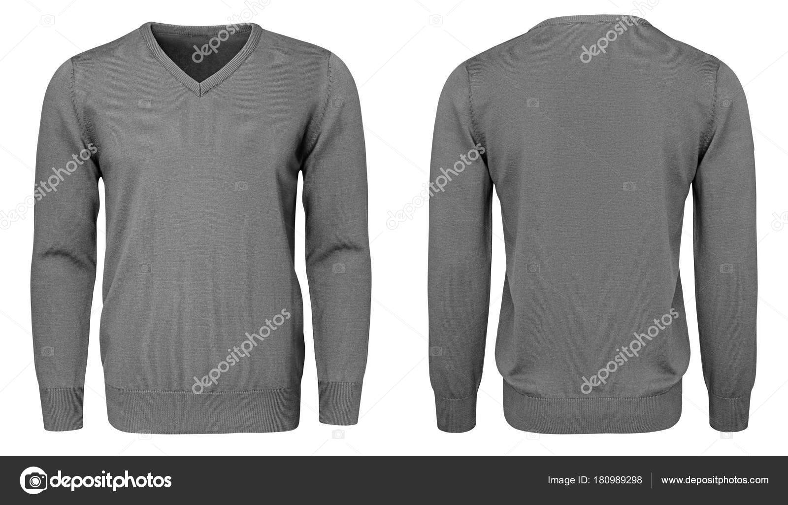 Blank template mens grey sweatshirt long sleeve, front and back view ...