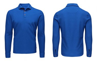Blank template mens blue polo shirt long sleeve, front and back view, isolated white background with clipping path. Design sweatshirt mockup for print.