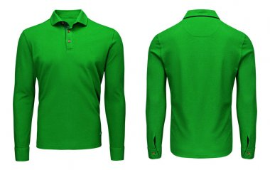 Blank template mens green polo shirt long sleeve, front and back view, isolated white background with clipping path. Design sweatshirt mockup for print.