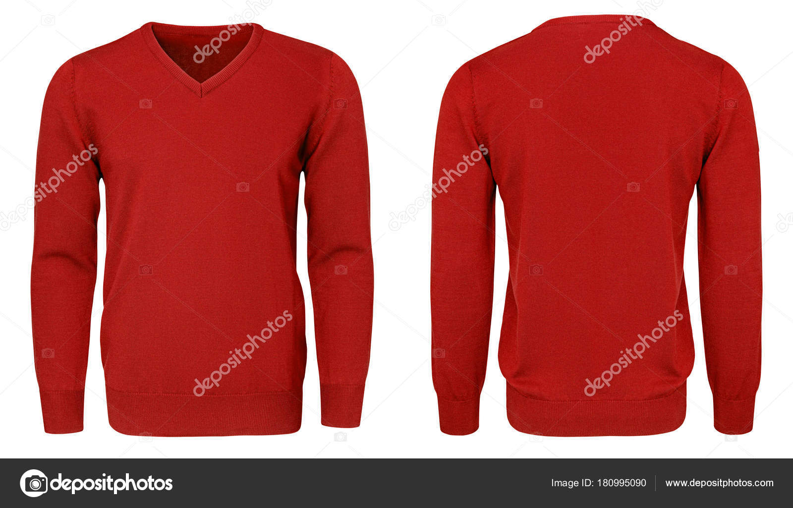 Blank template mens red sweatshirt long sleeve, front and back view ...