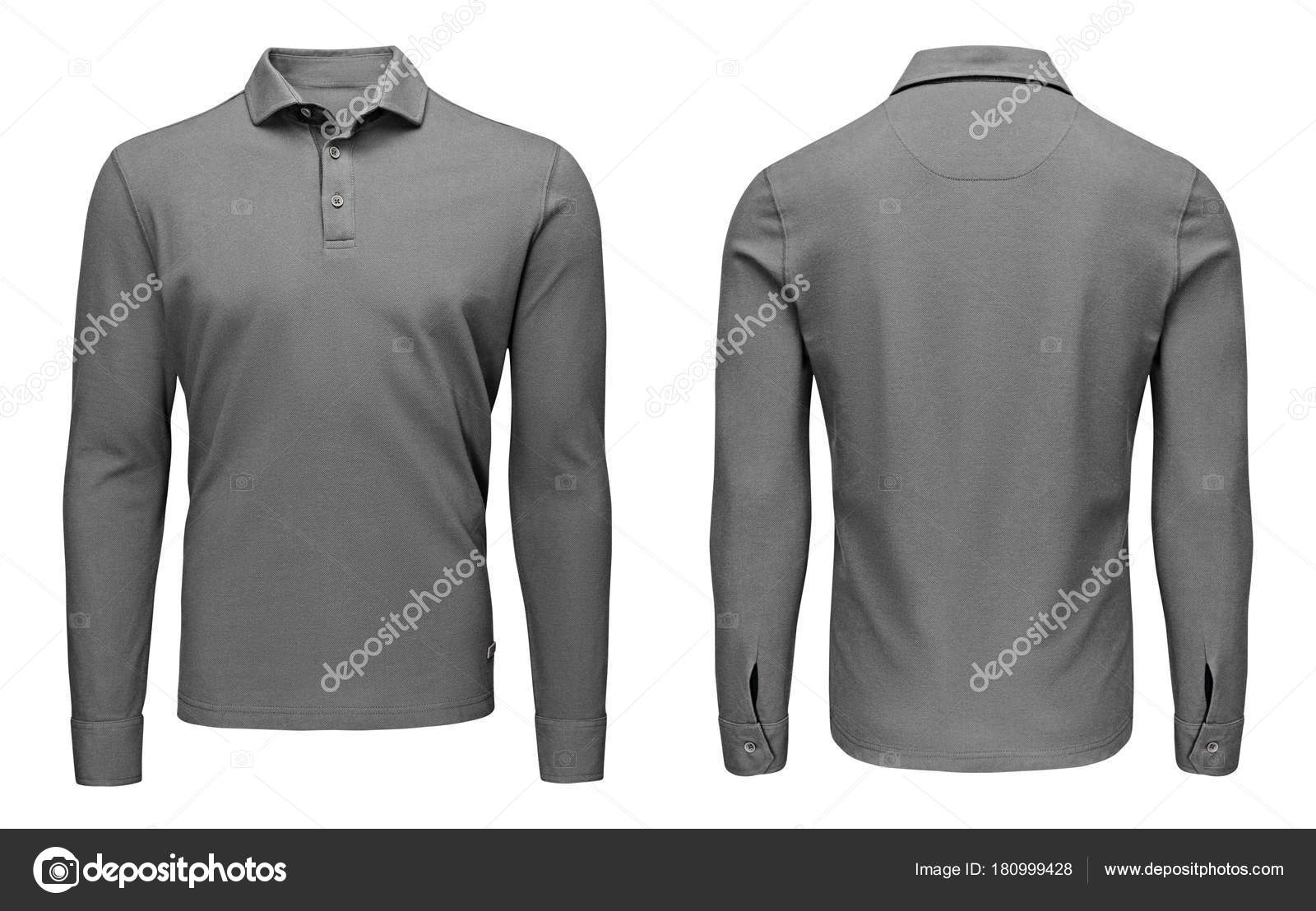 Blank Template Mens Grey Polo Shirt Long Sleeve Front And Back View Isolated On White Background With Clipping Path Design Sweatshirt Mockup For Print