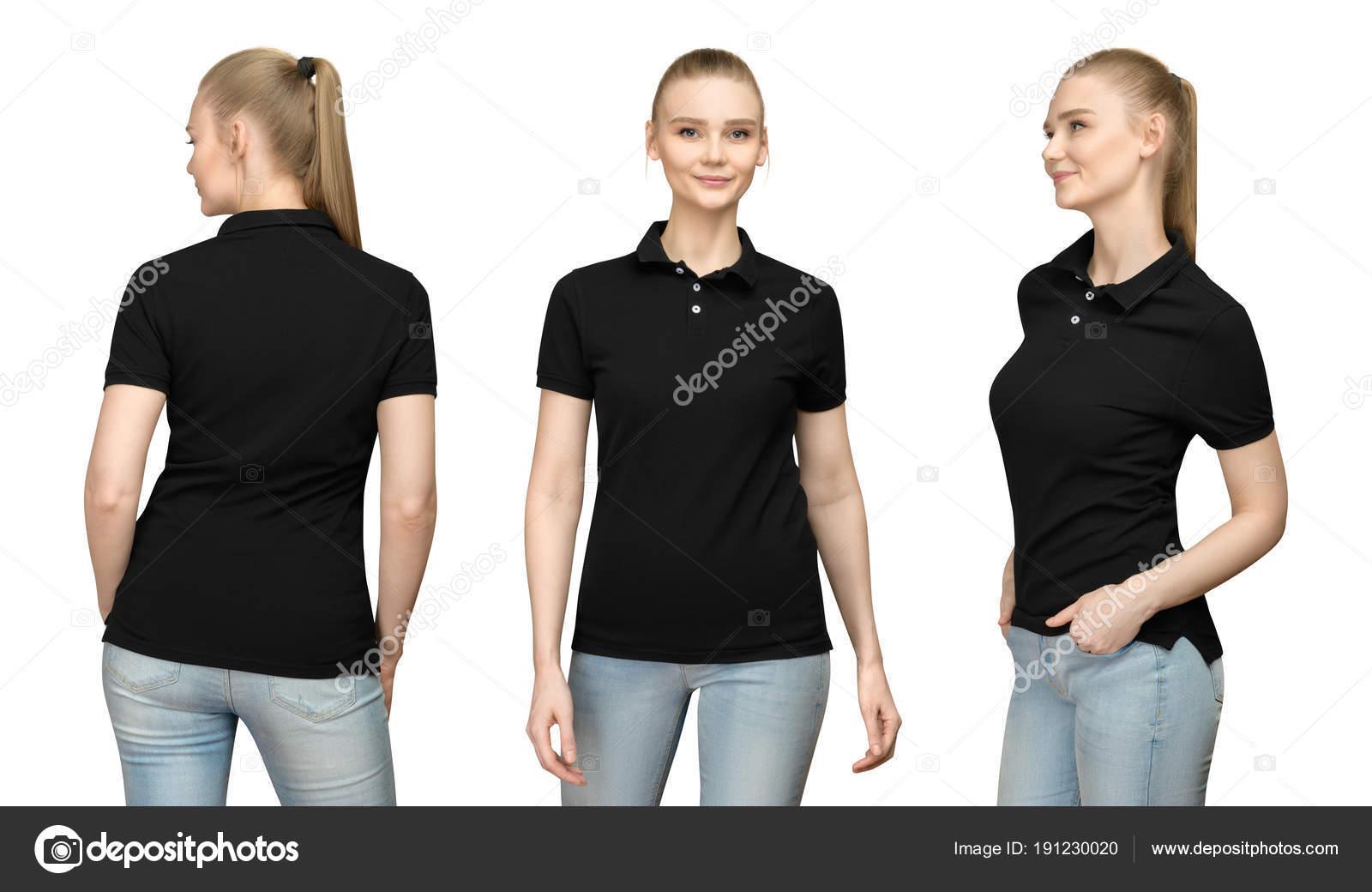 set promo pose girl in blank black polo shirt mockup design for