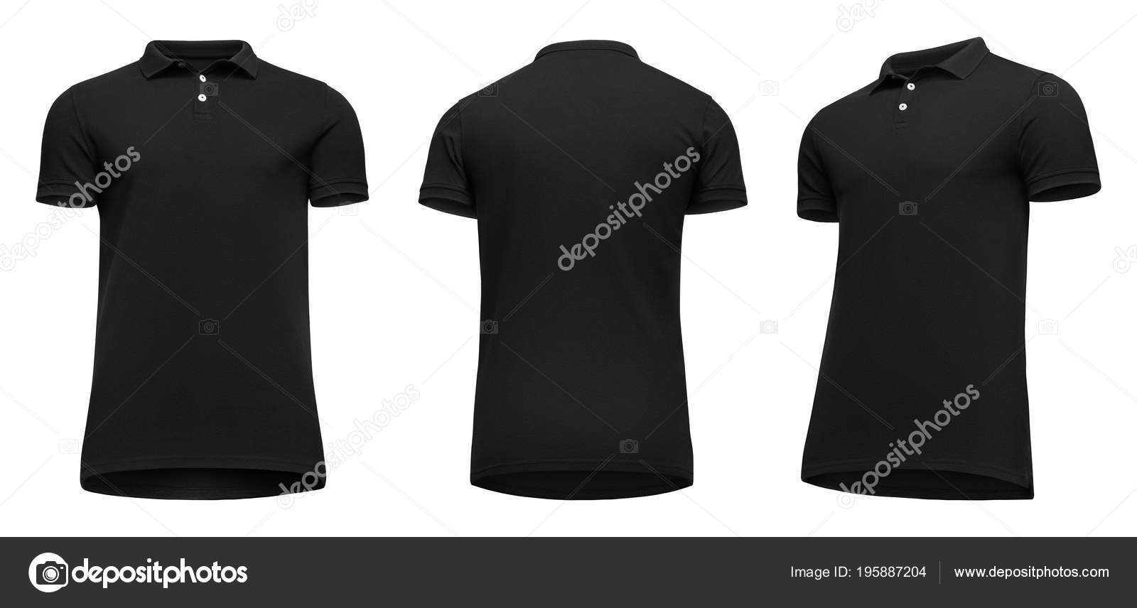 e497e81d7d9746 Blank template men black polo shirt short sleeve, front and back view half  turn bottom-up, isolated on white background ...