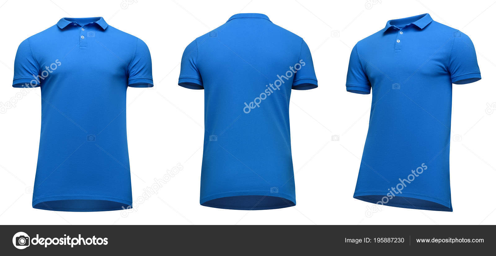 Blank Template Men Blue Polo Shirt Short Sleeve Front And