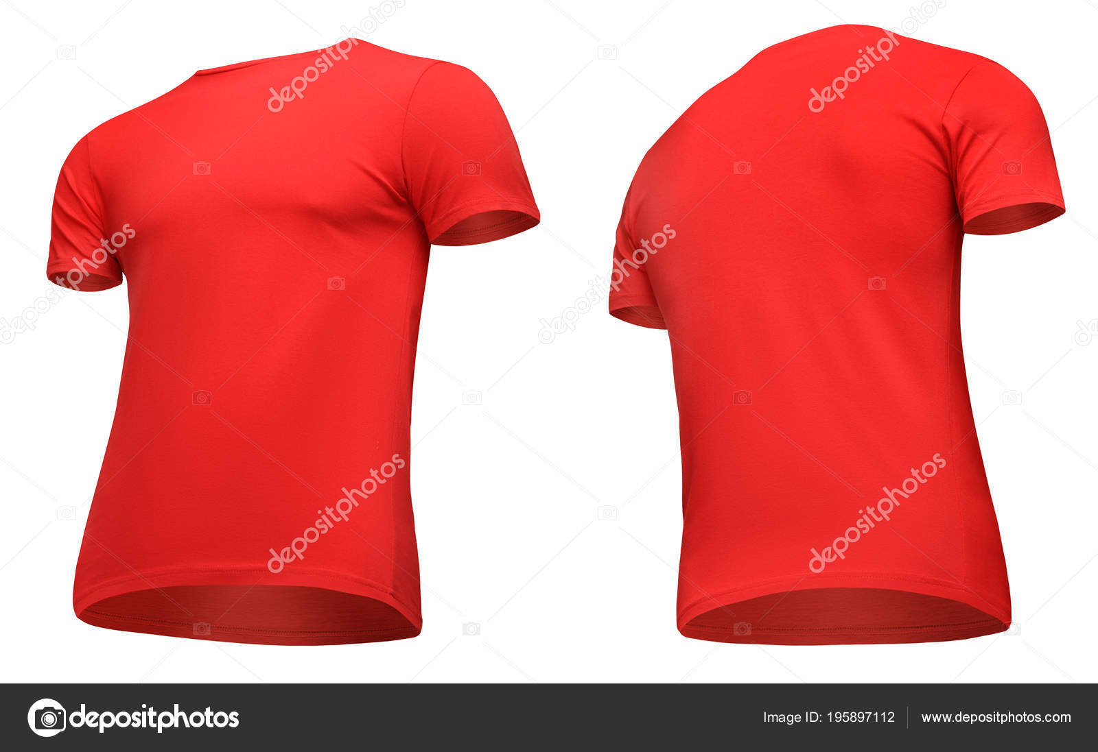 33cccc5f Blank template men red t shirt short sleeve, front and back view half turn  bottom-up, isolated on white background ...