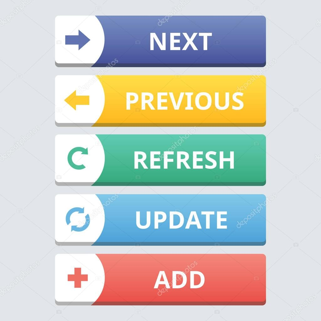 Modern flat set of colorful buttons with text.