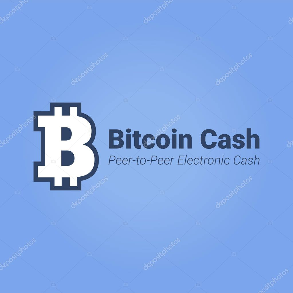 Bitcoin cash flat icon with title isolated on blue background.