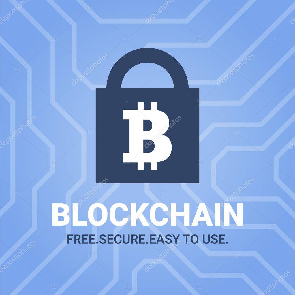 Blockchain illustration with tittle on chipset background. Bitcoin sign on lock image.