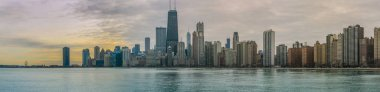 Chicago skyline Panorama Sunset with Michigan Lake