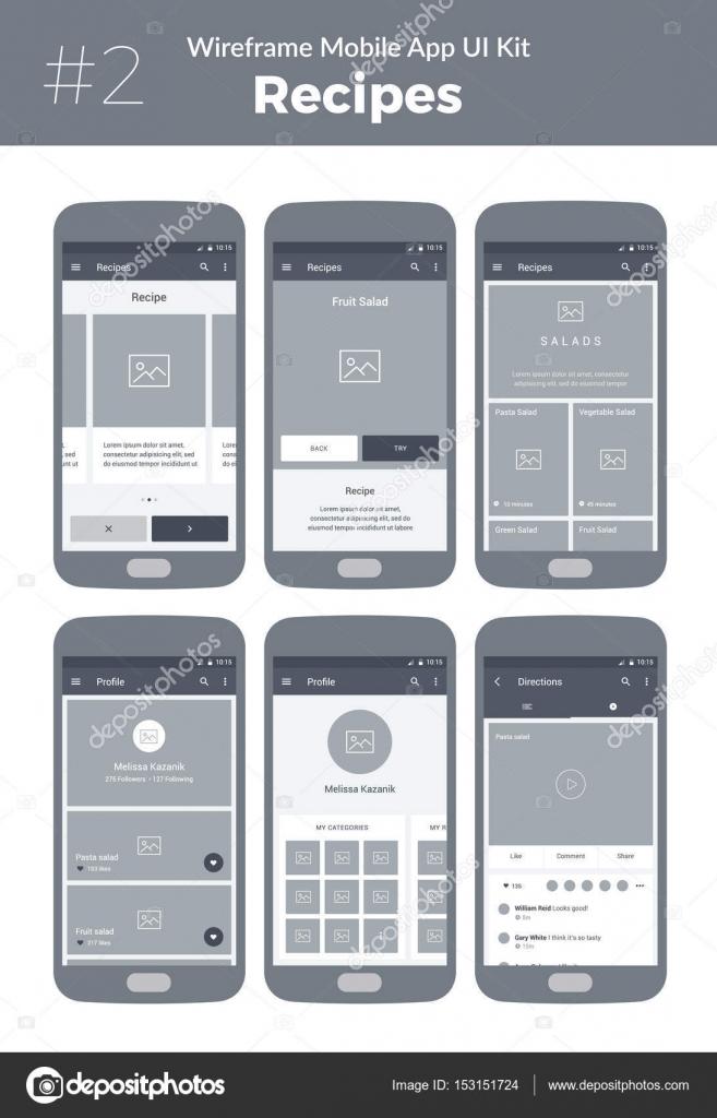 wireframe ui kit pour t l phone mobile application mobile. Black Bedroom Furniture Sets. Home Design Ideas