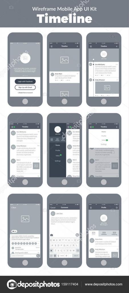 Wireframe Ui-Kit für Mobiltelefon. Mobile App Timeline. Füttern ...