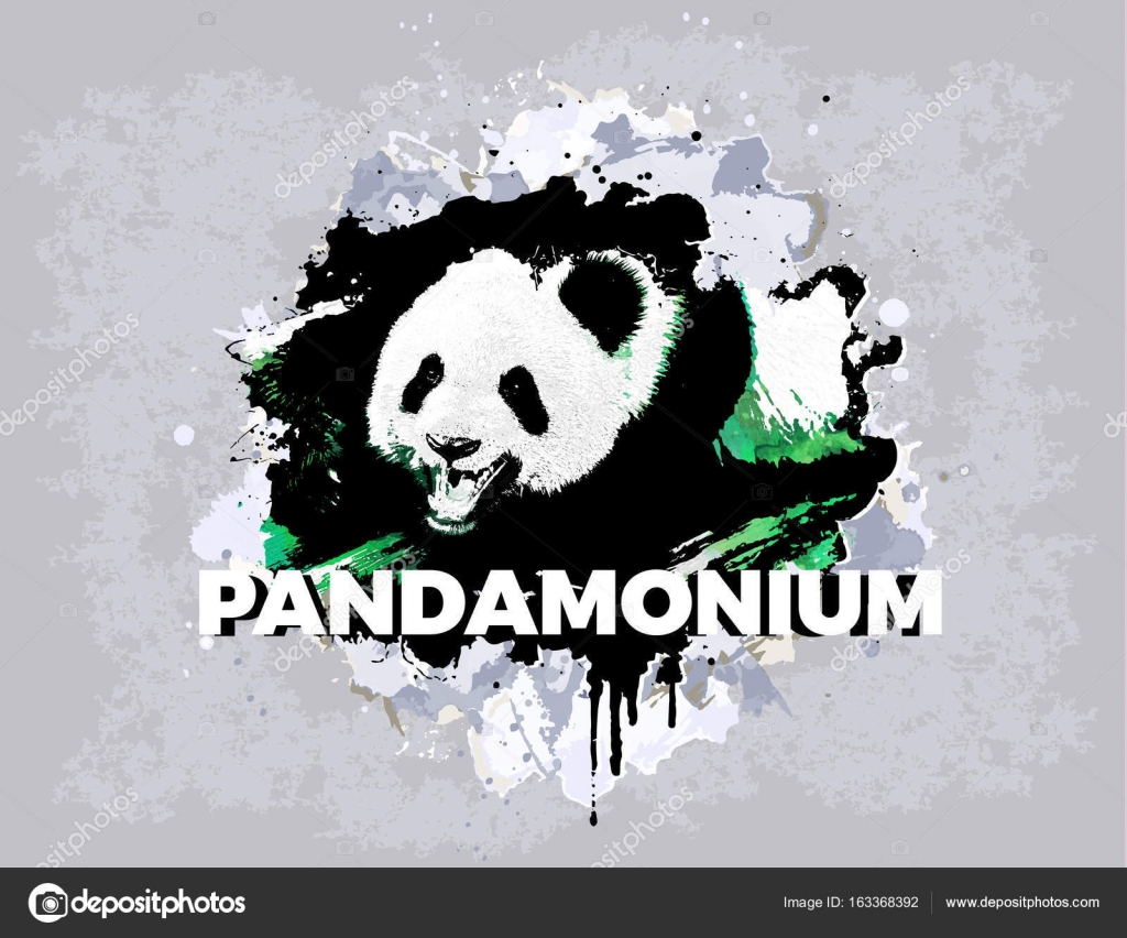 bb9328a5d1ee Abstract panda grunge design. Print for t-shirt. Animal modern style  attributes. Vector art. Panda bear for poster. — Vector by vanderon