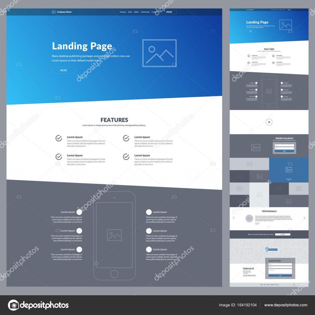 Eine Seite Website-Design-Vorlage für Unternehmen. Moderne Landung ...