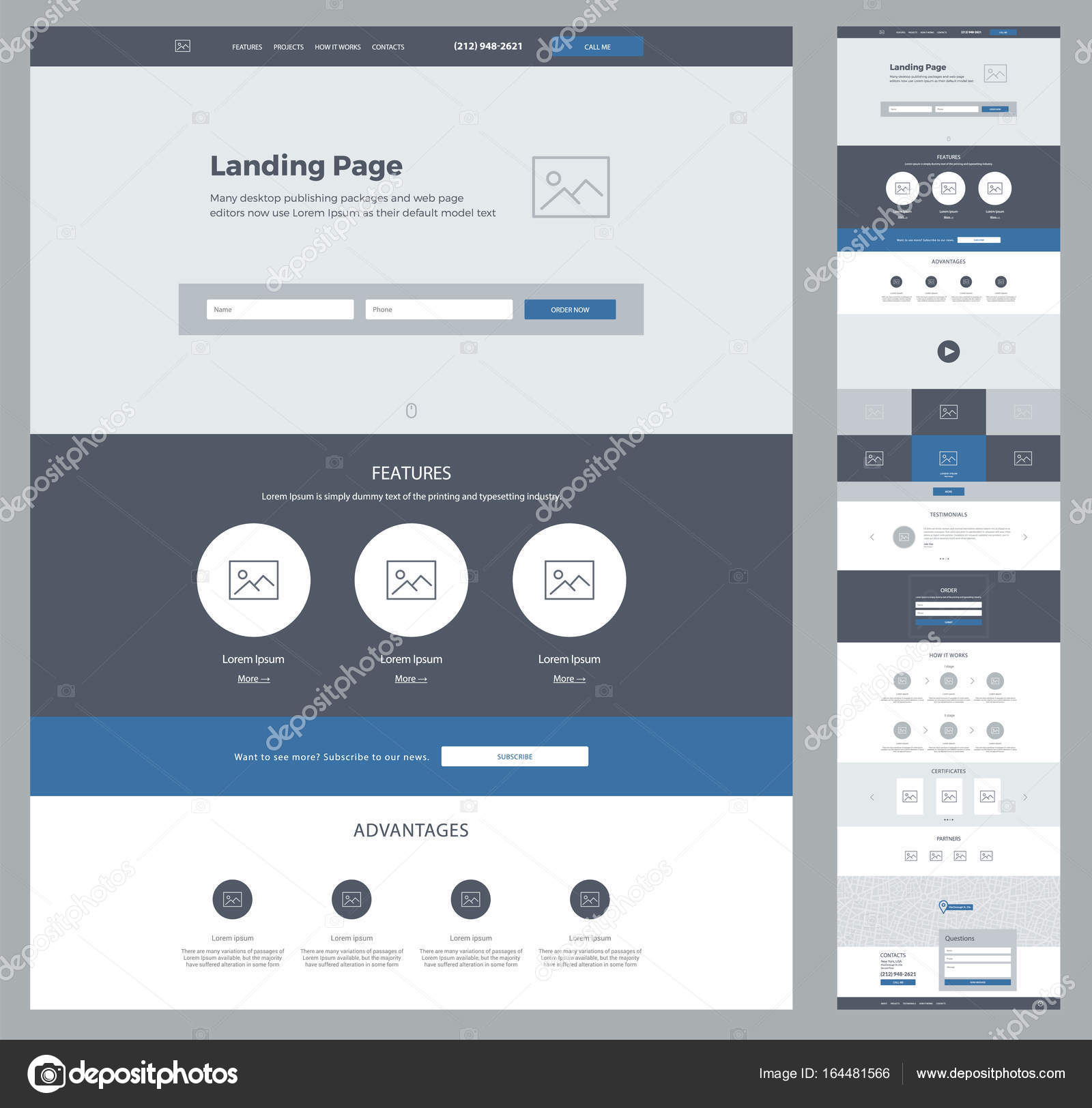 Eine Seite Design-Vorlage für Unternehmen. Landung Seite Drahtmodell ...