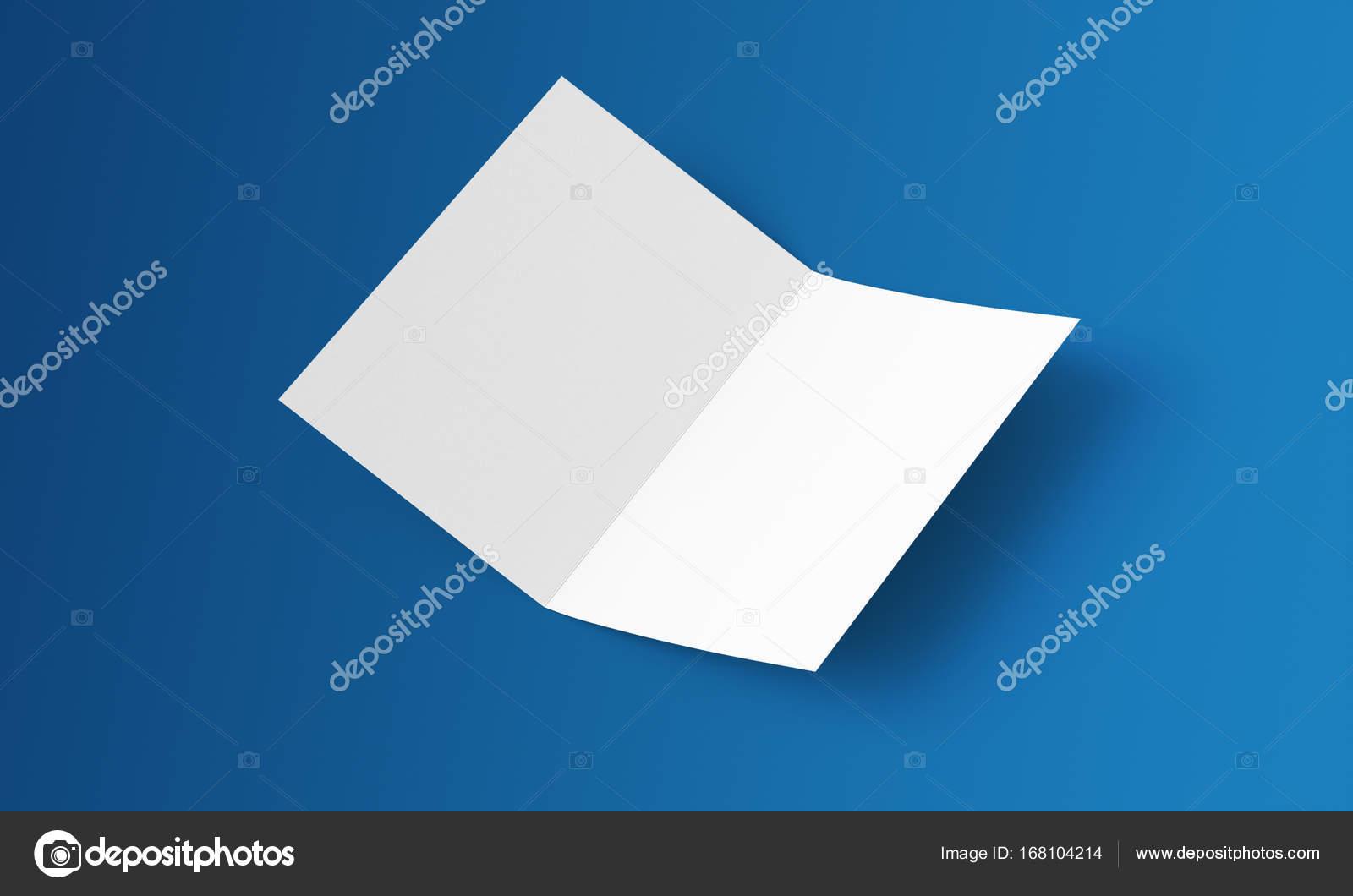 Vol Stationnaire Vide Double Brochure Papier Sur Le Fond Maquette Magazine Ouvert Journal Carte Postale Flyer De Visite Ou