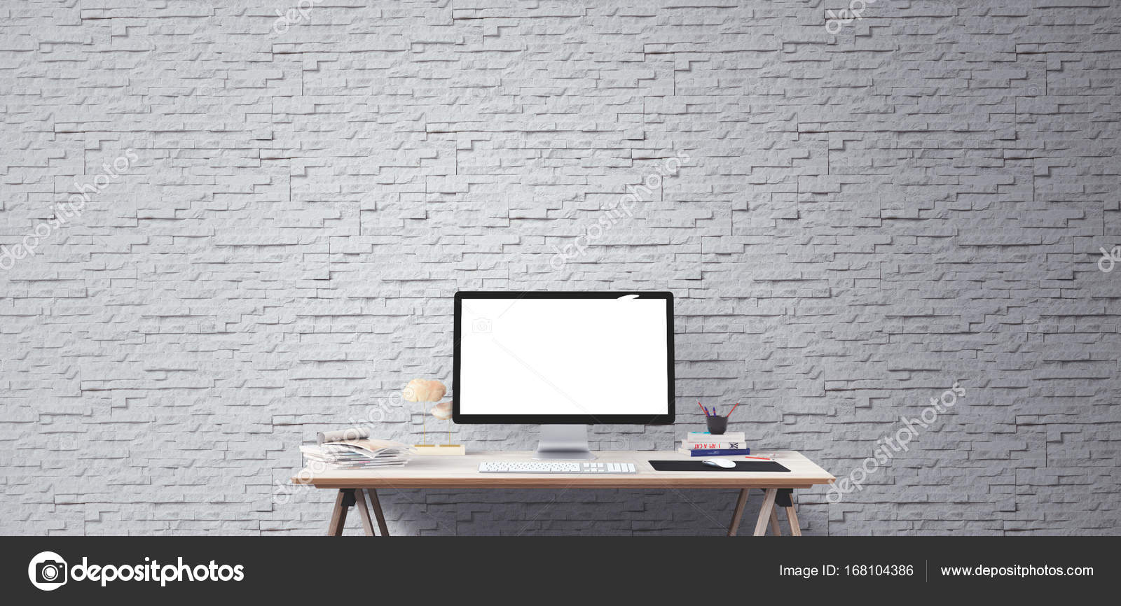 Computer Display And Office Tools On Desk Desktop Screen Isolated Modern Creative Workspace Background