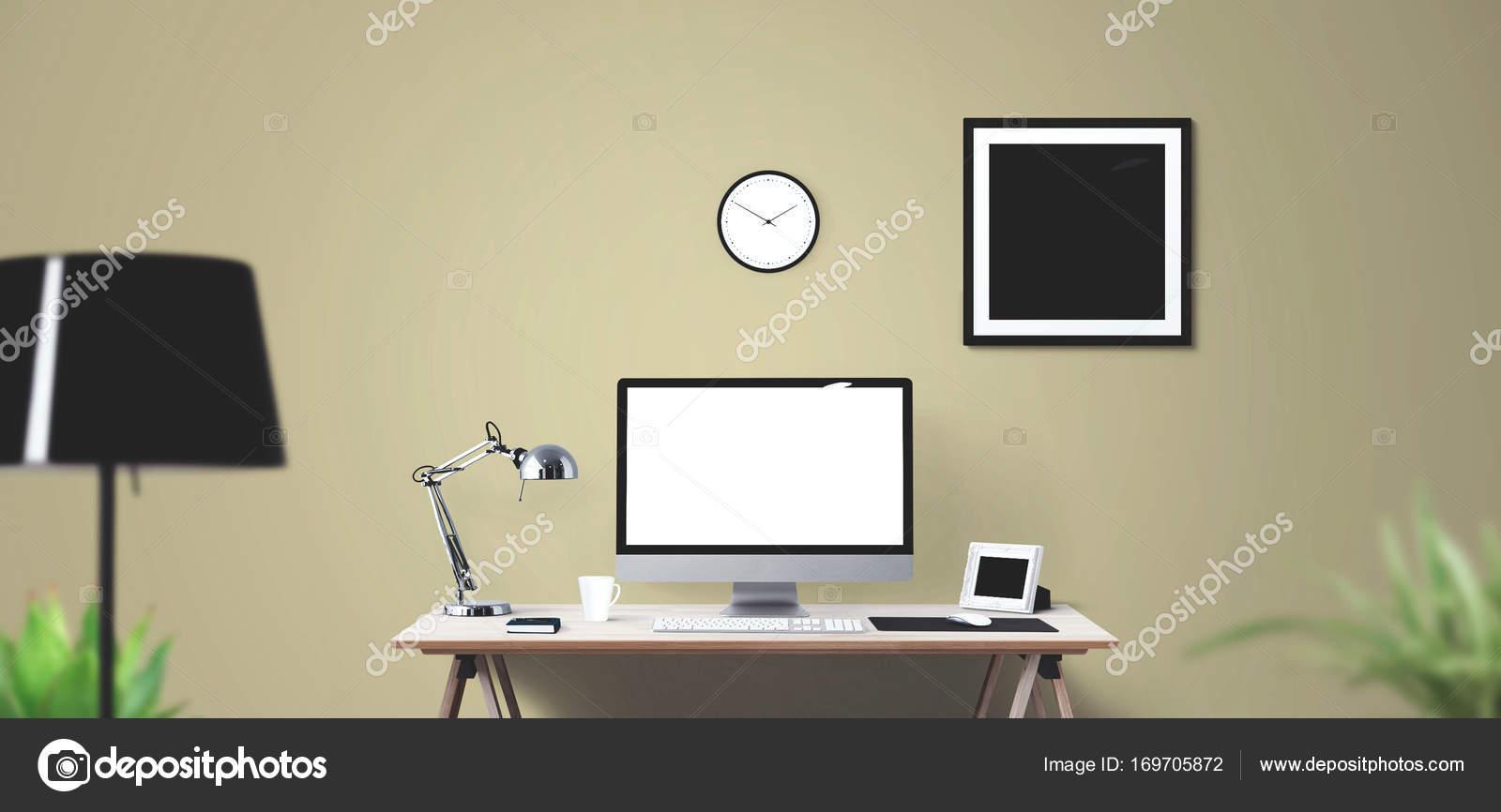 Computerdisplay Und Burogerate Auf Dem Schreibtisch Desktop Computerbildschirm Isoliert Modernen Kreativen Arbeitsplatz Hintergrund Frontansicht Stockfoto C Vanderon 169705872
