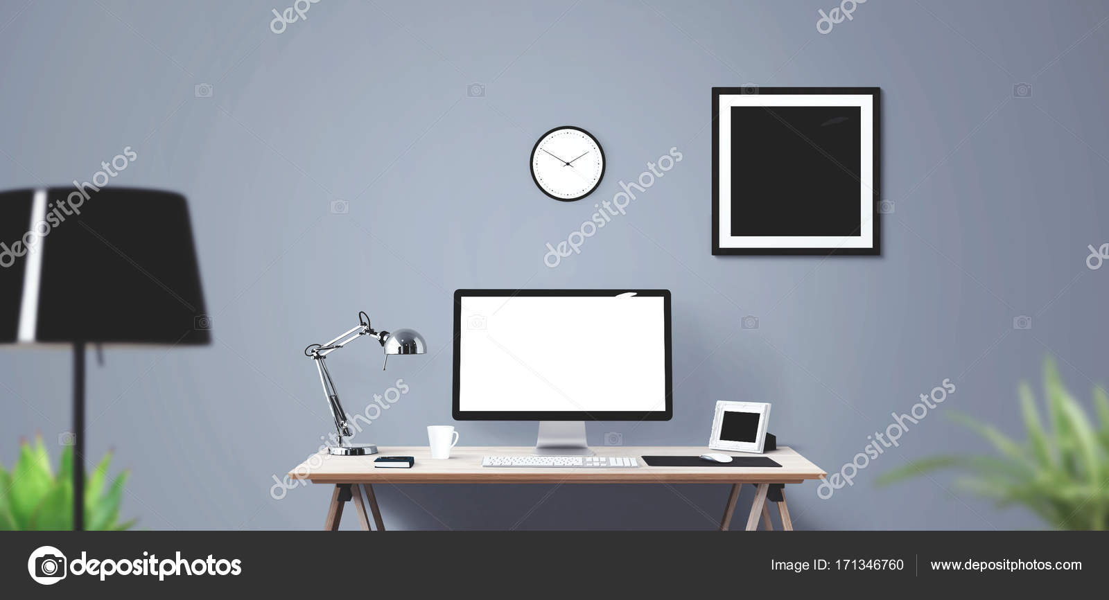 Desk Desktop Frame Front Home Interior Lamp Loft Modern Office Pencil Picture Poster Screen Studio Table Watch White Work Workspace