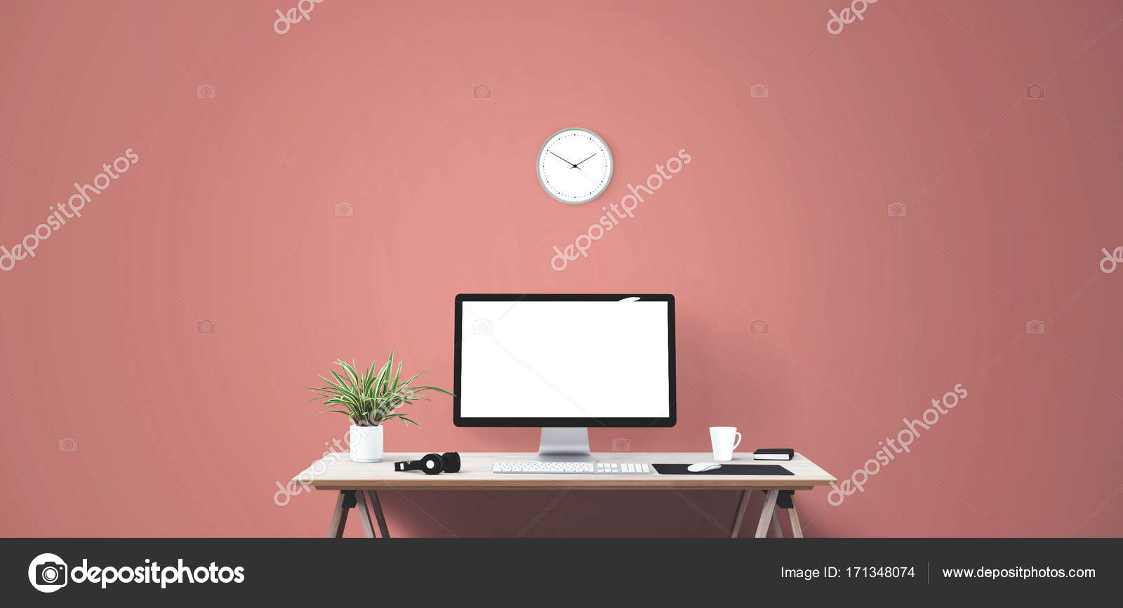 background banner book business clock computer creative cup