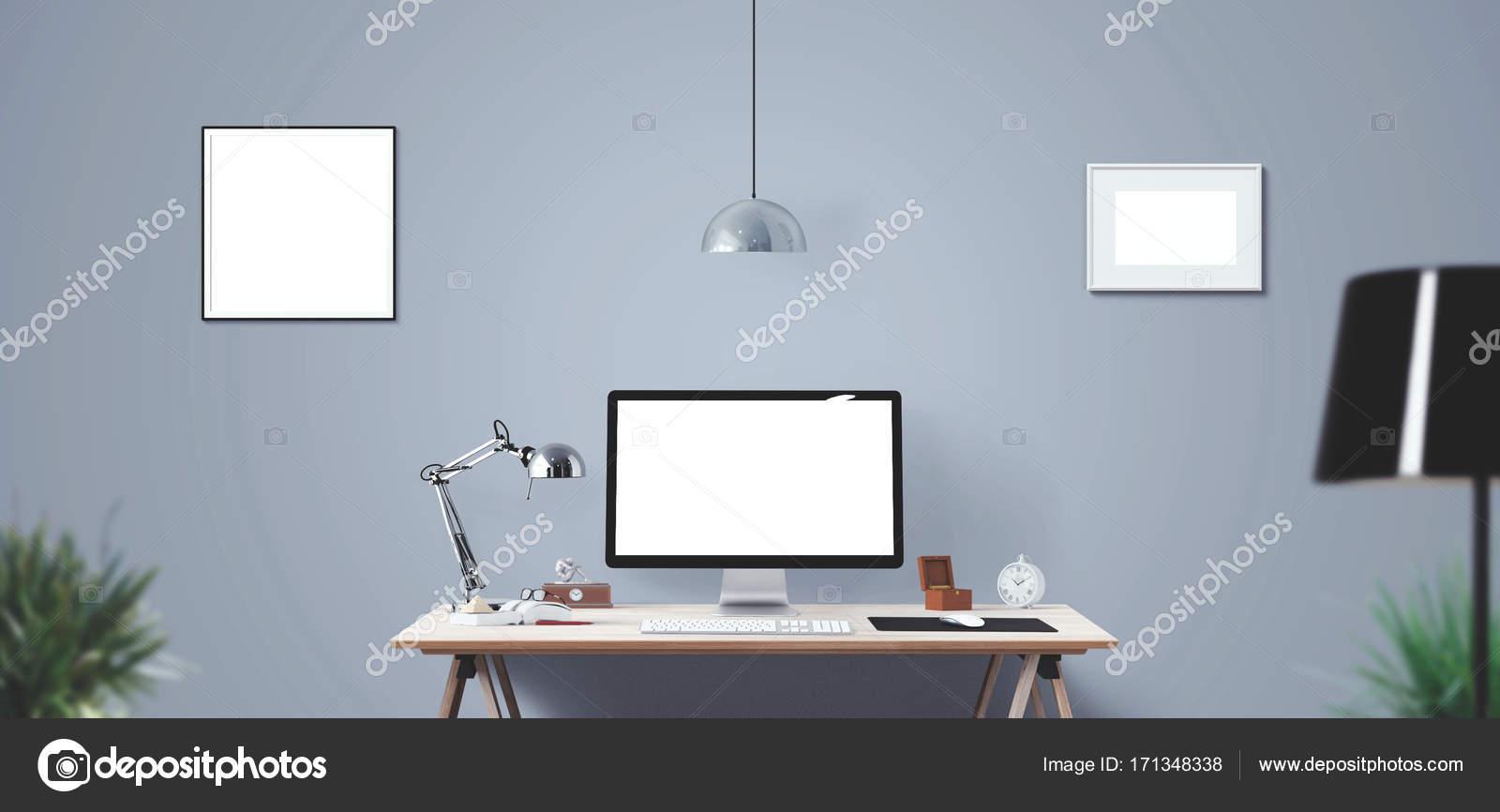 Computerdisplay Und Burogerate Auf Dem Schreibtisch Desktop Computerbildschirm Isoliert Modernen Kreativen Arbeitsplatz Hintergrund Frontansicht Stockfoto C Vanderon 171348338