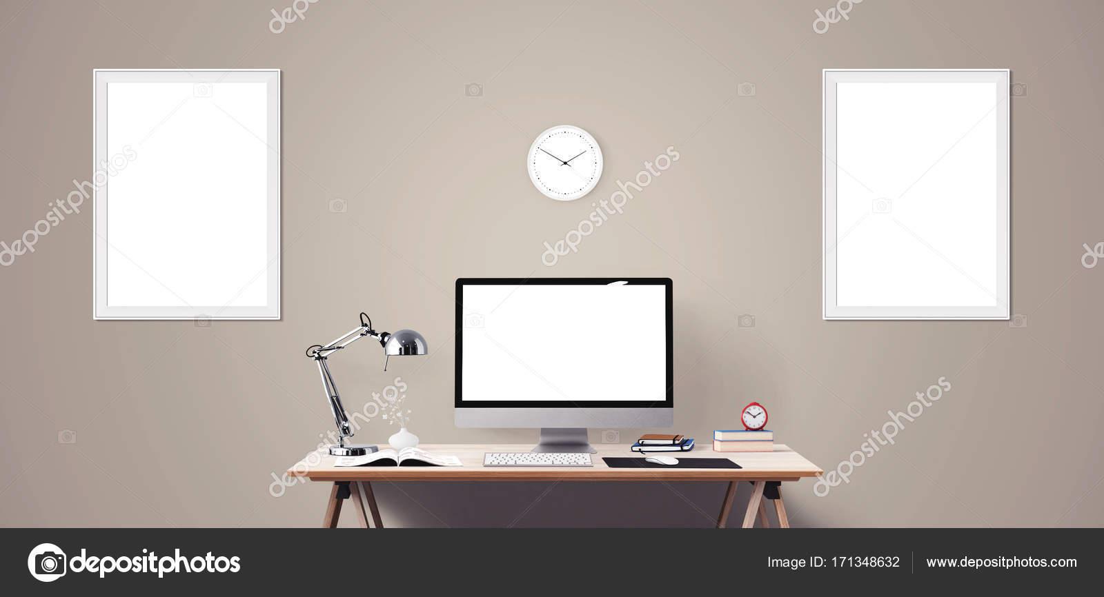 Computerdisplay Und Burogerate Auf Dem Schreibtisch Desktop Computerbildschirm Isoliert Modernen Kreativen Arbeitsplatz Hintergrund Frontansicht Stockfoto C Vanderon 171348632