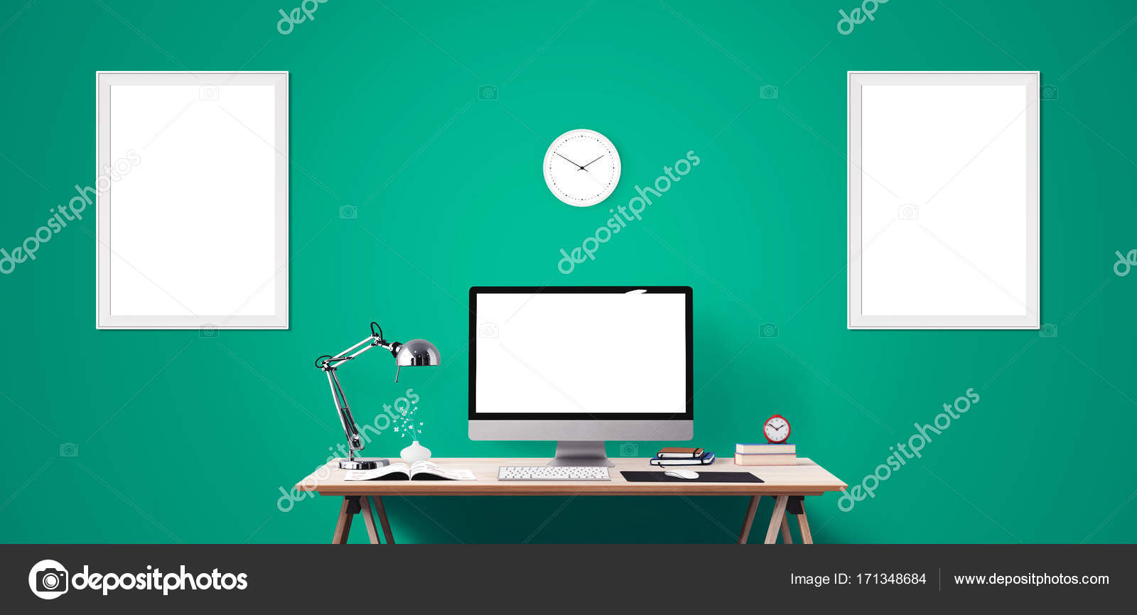 Computer Display And Office Tools On Desk Desktop Screen Isolated Modern Creative Workspace Background Front View